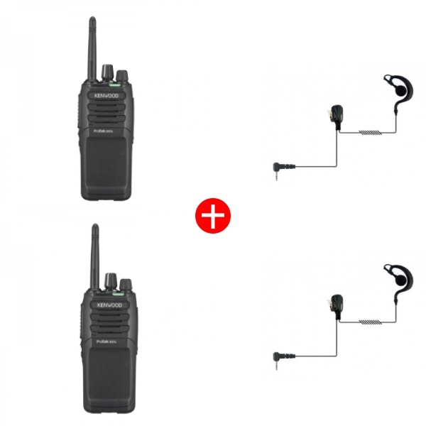 Kenwood TK-3701DE + Ear Hook Kit - Twin Pack
