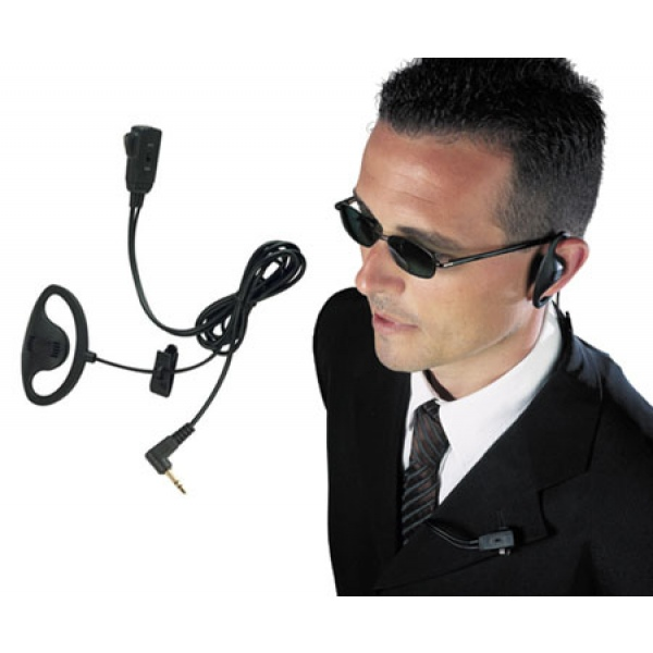 D-Shaped Earpiece with ''PTT'' Mic for Motorola 1-Pin Radios