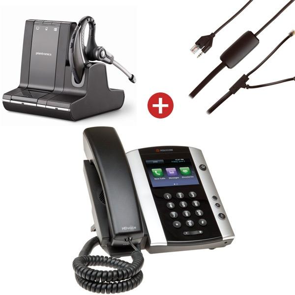 Polycom VVX 500 + Plantronics Savi W730 + Cable