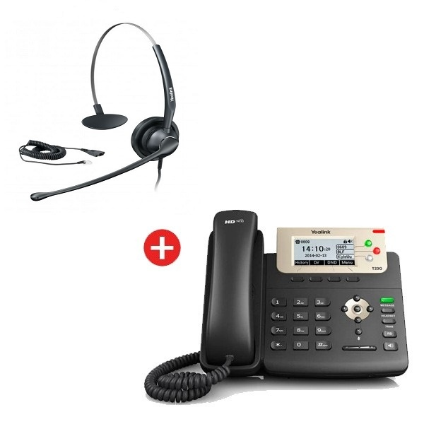 Yealink SIP-T23G VoIP Phone + Yealink YHS33 Headset + Free Cable