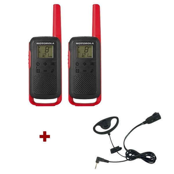 Motorola T62 (Red) Twin Pack + D-Shaped Ear Pieces