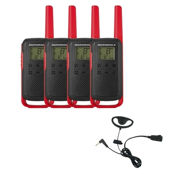 Motorola T62 (Red) Quad Pack + D-Shaped Ear Pieces