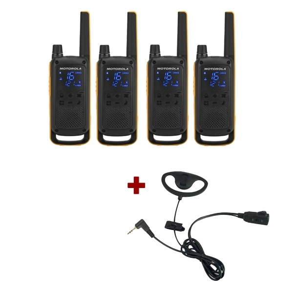 Motorola T82 Extreme Quad Pack + D Shaped Ear Pieces
