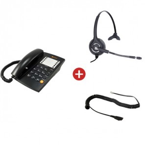 Agent 1000 Black Phone + Onedirect One Mono Headset + QD Cable