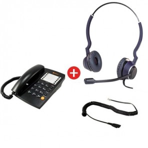 Agent 1000 Black Phone + Onedirect Two Duo Headset + QD Cable