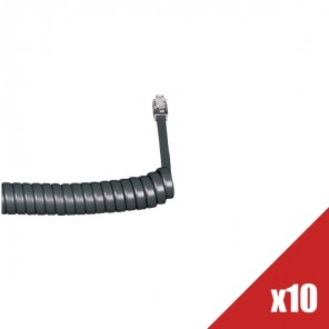 Batch of 10 Coiled Telephone Handset Cords (Graphite)