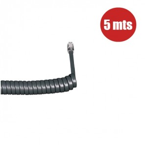 Coiled Telephone Handset Cord 5m (Graphite)