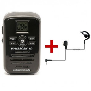 Dynascan 1D PMR446 Walkie Talkie + G-Shaped Earpiece (1)