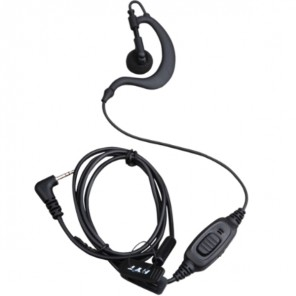 C-shaped earphone with integrated microphone/PTT with VOX function