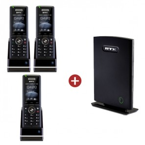 RTX8660 IP DECT Base Station + 3 RTX8630 Handsets