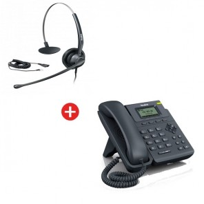 Yealink SIP-T19P VoIP Phone + Yealink YHS33 Headset + Free Cable