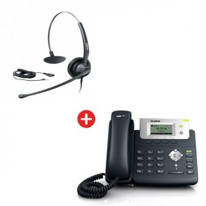 Yealink SIP-T21P VoIP Phone + Yealink YHS33 Headset + Free Cable