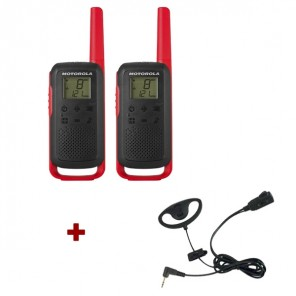 Motorola Talkabout T62 (Red) Twin Pack + D Shaped Ear Pieces
