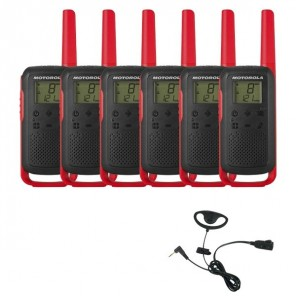 Motorola TalkaboutT62 (Red) Six Pack + D Shaped Ear Pieces