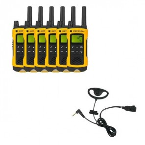 Motorola TLKR T80 Extreme Six Pack + D Shaped Ear Pieces