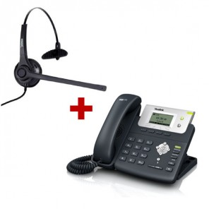 Yealink T21P SIP Phone + Freemate DH037-U-GY Headset