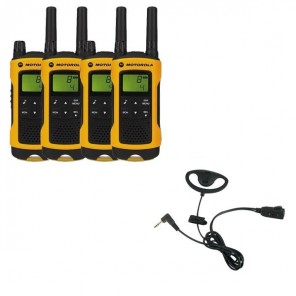 Motorola TLKR T80 Extreme Quad Pack + D Shaped Ear Pieces