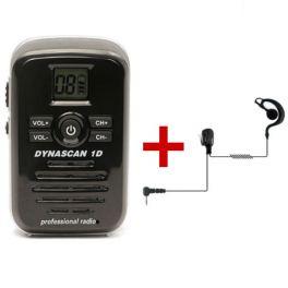 Dynascan 1D PMR446 Walkie Talkie + G-Shaped Earpiece (1)