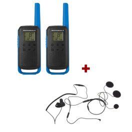 Motorola T62 (Blue) Twin Pack +  Closed Helmet Mics