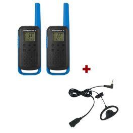 Motorola T62 (Blue) Twin Pack + D-Shaped Ear Pieces
