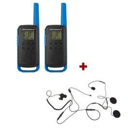 Motorola T62 (Blue) Twin Pack + Open Helmet Mics