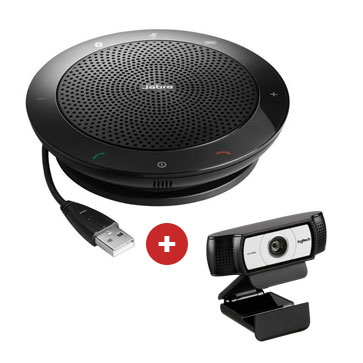 Logitech C930 HD camera + Jabra Speak 410